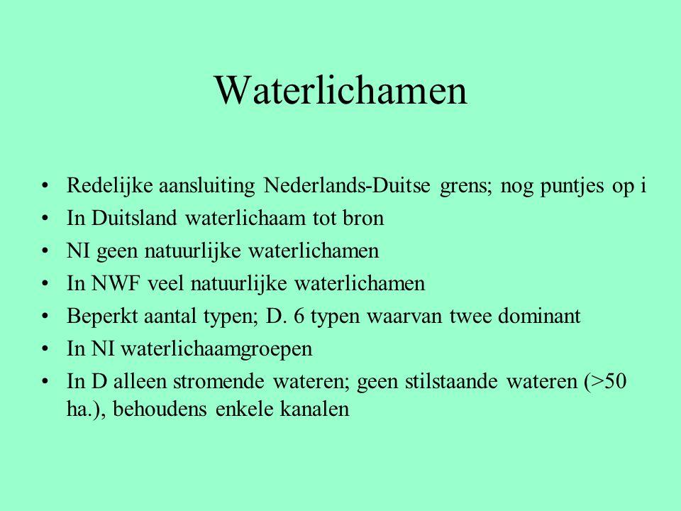 Waterlichamen Redelijke aansluiting Nederlands-Duitse grens; nog puntjes op i In Duitsland waterlichaam tot bron NI geen natuurlijke waterlichamen In NWF veel natuurlijke waterlichamen Beperkt aantal typen; D.