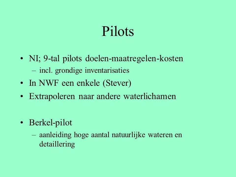 Pilots NI; 9-tal pilots doelen-maatregelen-kosten –incl. grondige inventarisaties In NWF een enkele (Stever) Extrapoleren naar andere waterlichamen Be
