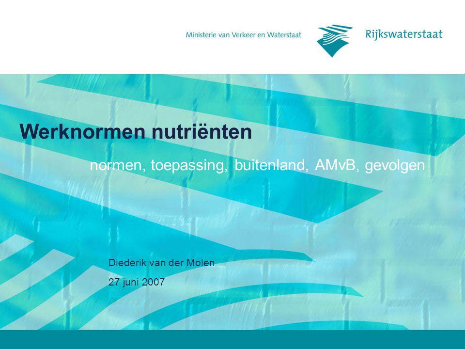 27 juni 2007 Diederik van der Molen Werknormen nutriënten normen, toepassing, buitenland, AMvB, gevolgen