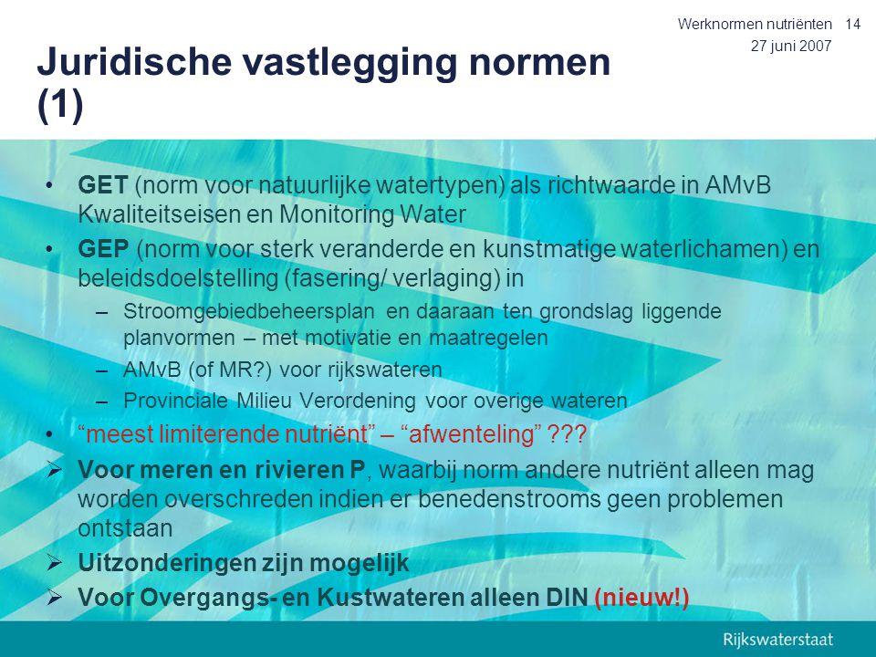 27 juni 2007 Werknormen nutriënten14 Juridische vastlegging normen (1) GET (norm voor natuurlijke watertypen) als richtwaarde in AMvB Kwaliteitseisen