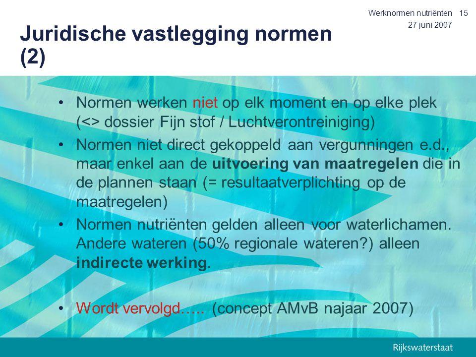27 juni 2007 Werknormen nutriënten15 Juridische vastlegging normen (2) Normen werken niet op elk moment en op elke plek (<> dossier Fijn stof / Luchtv