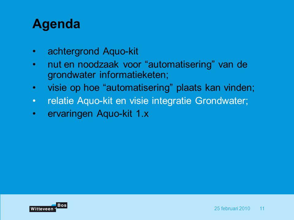 1125 februari 2010 Agenda achtergrond Aquo-kit nut en noodzaak voor automatisering van de grondwater informatieketen; visie op hoe automatisering plaats kan vinden; relatie Aquo-kit en visie integratie Grondwater; ervaringen Aquo-kit 1.x