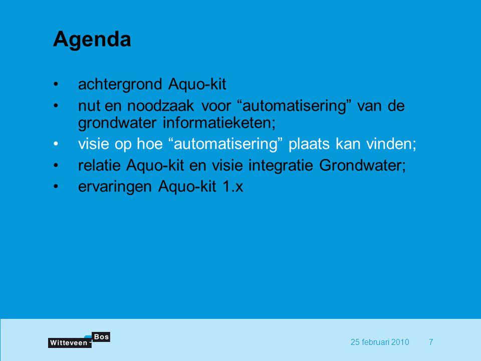 725 februari 2010 Agenda achtergrond Aquo-kit nut en noodzaak voor automatisering van de grondwater informatieketen; visie op hoe automatisering plaats kan vinden; relatie Aquo-kit en visie integratie Grondwater; ervaringen Aquo-kit 1.x