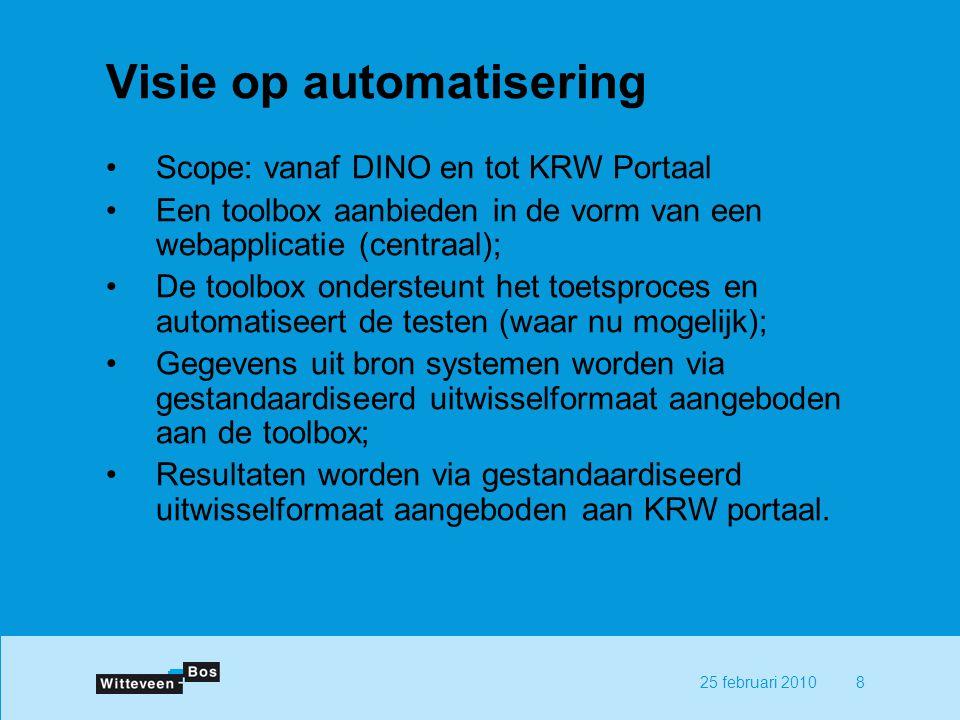 825 februari 2010 Visie op automatisering Scope: vanaf DINO en tot KRW Portaal Een toolbox aanbieden in de vorm van een webapplicatie (centraal); De toolbox ondersteunt het toetsproces en automatiseert de testen (waar nu mogelijk); Gegevens uit bron systemen worden via gestandaardiseerd uitwisselformaat aangeboden aan de toolbox; Resultaten worden via gestandaardiseerd uitwisselformaat aangeboden aan KRW portaal.