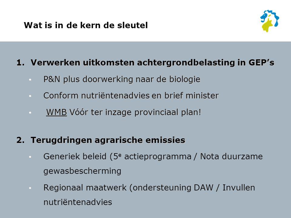 Wat is in de kern de sleutel 1.Verwerken uitkomsten achtergrondbelasting in GEP's P&N plus doorwerking naar de biologie P&N plus doorwerking naar de b