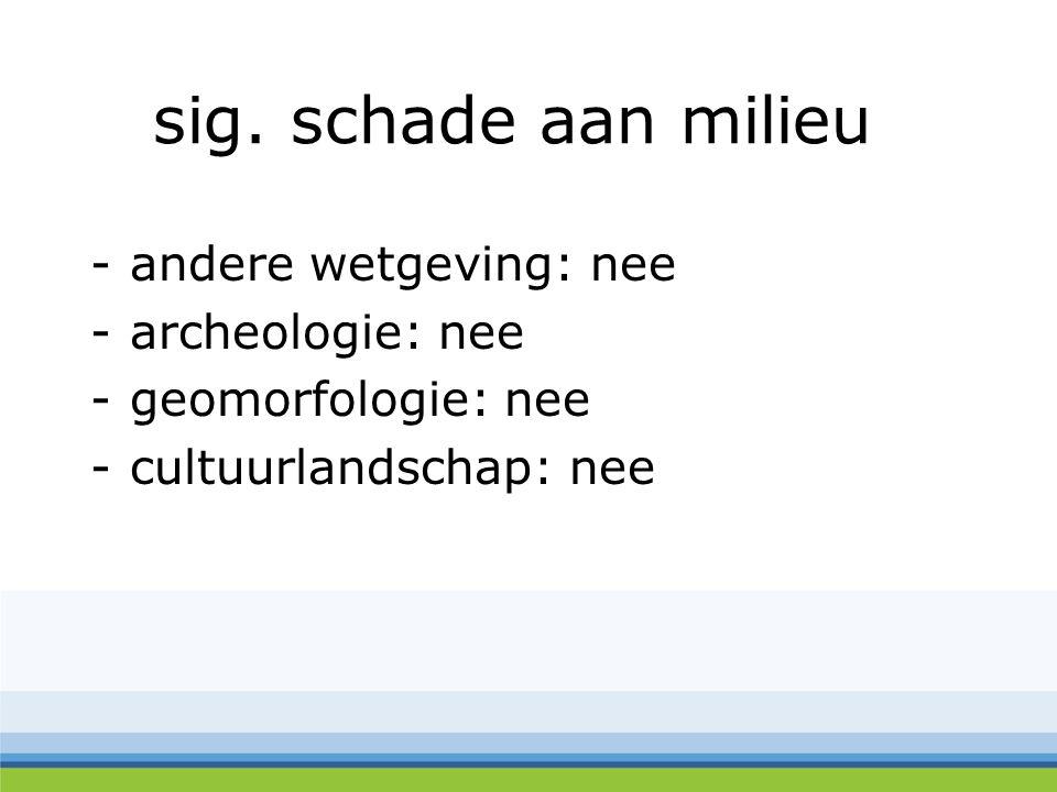 sig. schade aan milieu -andere wetgeving: nee -archeologie: nee -geomorfologie: nee -cultuurlandschap: nee