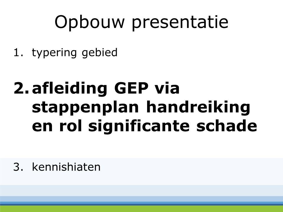 Opbouw presentatie 1.typering gebied 2.afleiding GEP via stappenplan handreiking en rol significante schade 3.kennishiaten