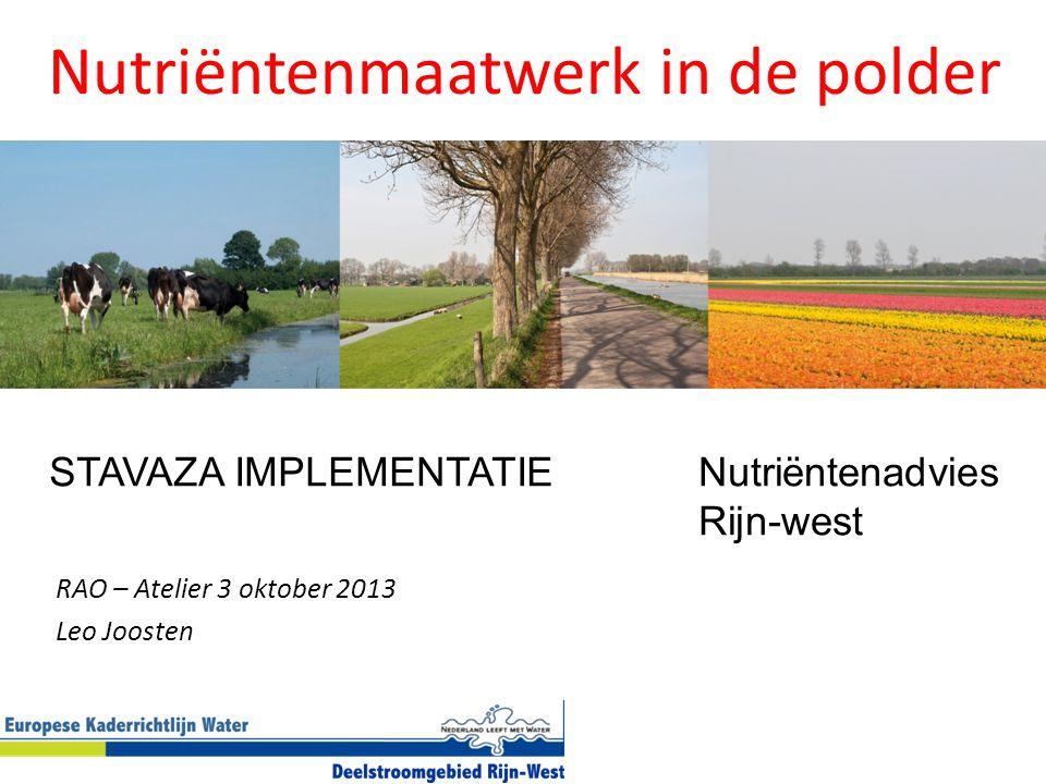 RAO – Atelier 3 oktober 2013 Leo Joosten Nutriëntenmaatwerk in de polder STAVAZA IMPLEMENTATIENutriëntenadvies Rijn-west