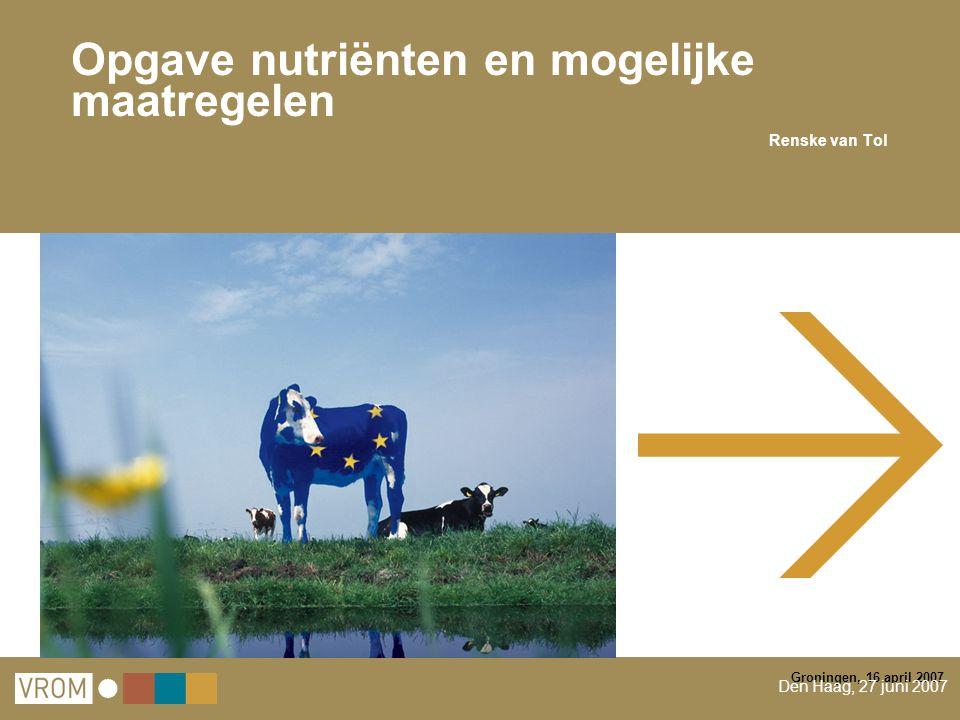 Groningen, 16 april 2007 Opgave nutriënten en mogelijke maatregelen Renske van Tol Den Haag, 27 juni 2007