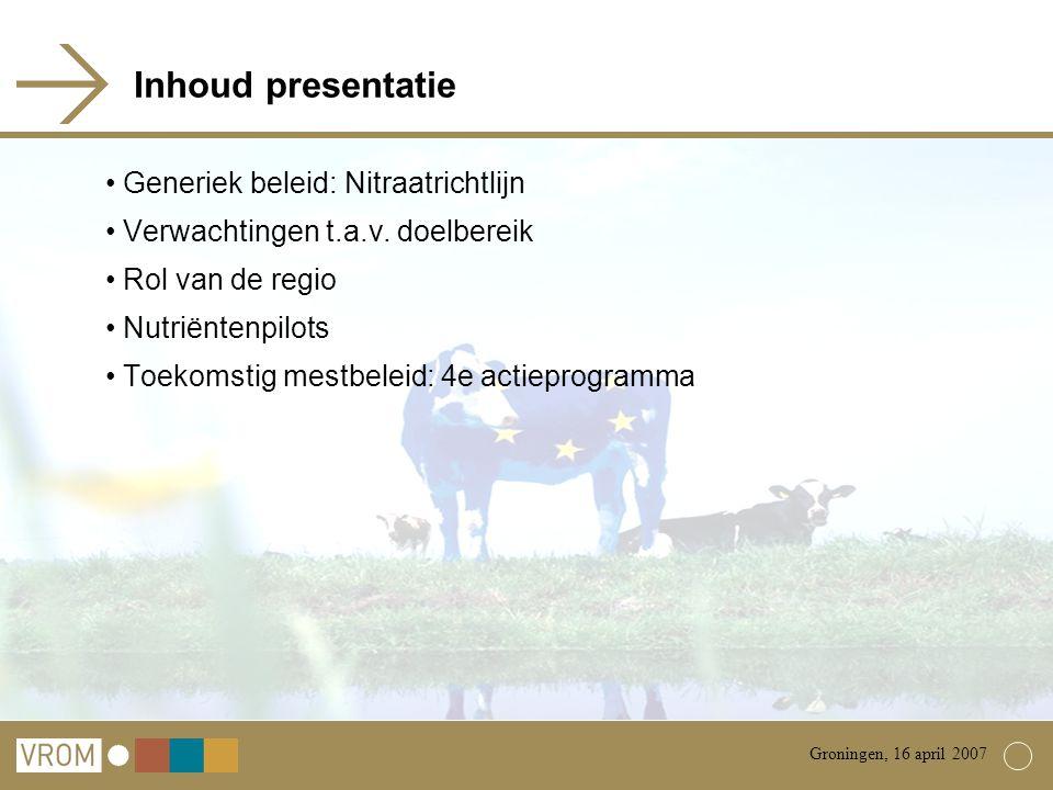 Inhoud presentatie Generiek beleid: Nitraatrichtlijn Verwachtingen t.a.v.