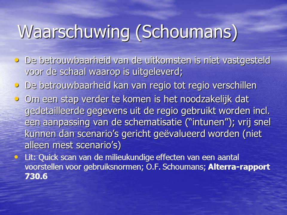 Waarschuwing (Schoumans) De betrouwbaarheid van de uitkomsten is niet vastgesteld voor de schaal waarop is uitgeleverd; De betrouwbaarheid van de uitk