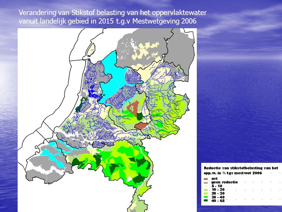 Verandering van Stikstof belasting van het oppervlaktewater vanuit landelijk gebied in 2015 t.g.v Mestwetgeving 2006