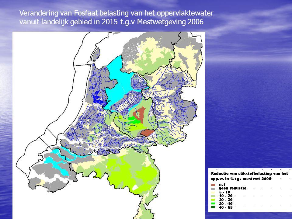 Verandering van Fosfaat belasting van het oppervlaktewater vanuit landelijk gebied in 2015 t.g.v Mestwetgeving 2006