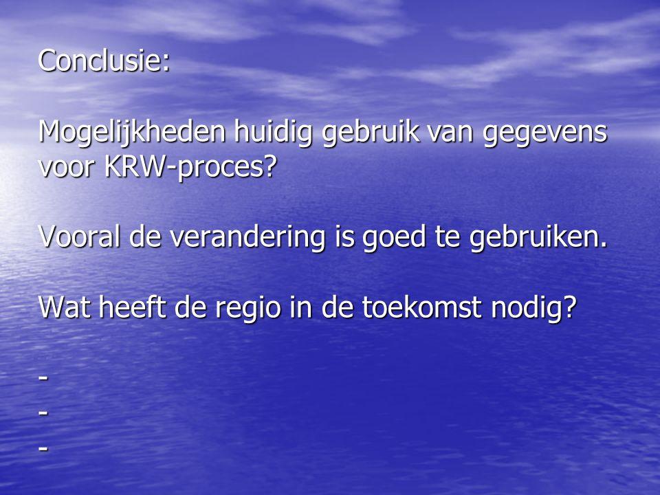 Conclusie: Mogelijkheden huidig gebruik van gegevens voor KRW-proces? Vooral de verandering is goed te gebruiken. Wat heeft de regio in de toekomst no