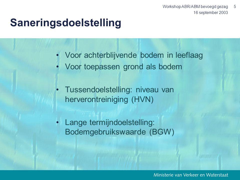 16 september 2003 Workshop ABR/ABM bevoegd gezag5 Saneringsdoelstelling Voor achterblijvende bodem in leeflaag Voor toepassen grond als bodem Tussendoelstelling: niveau van herverontreiniging (HVN) Lange termijndoelstelling: Bodemgebruikswaarde (BGW)