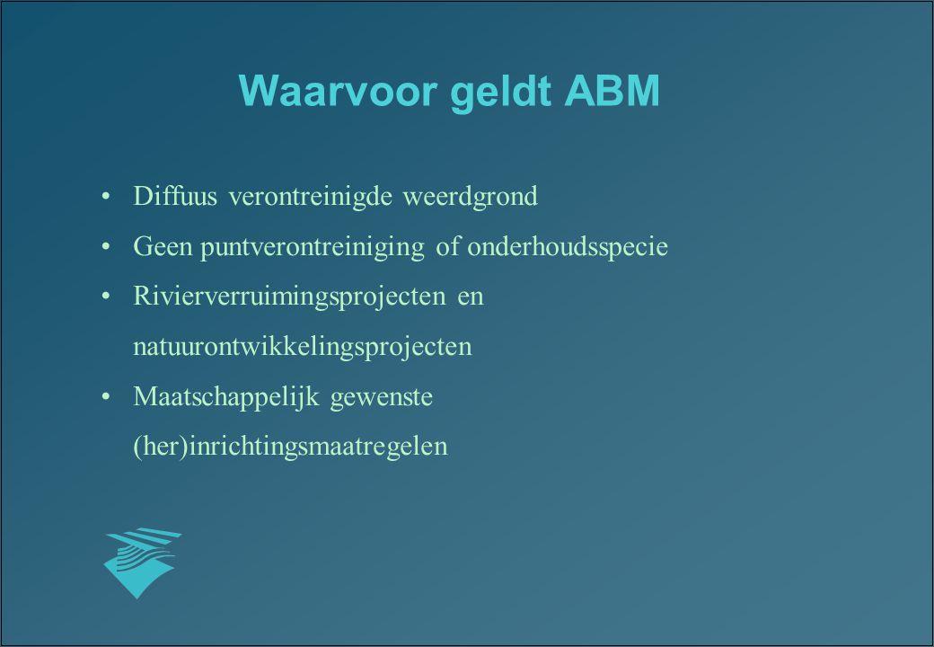 Waarvoor geldt ABM Diffuus verontreinigde weerdgrond Geen puntverontreiniging of onderhoudsspecie Rivierverruimingsprojecten en natuurontwikkelingspro