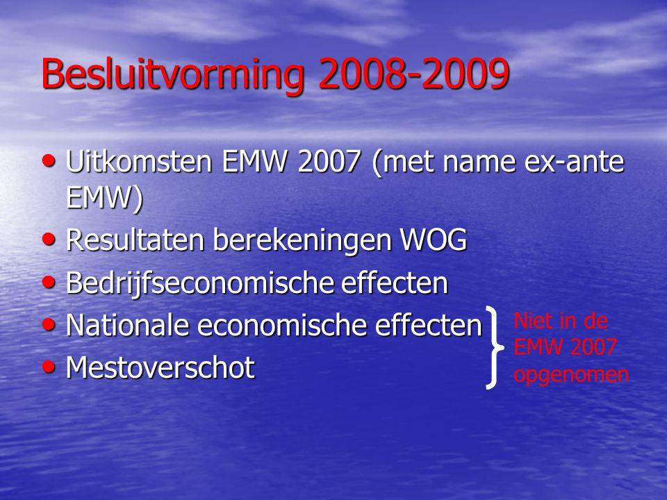 Besluitvorming 2008-2009 Uitkomsten EMW 2007 (met name ex-ante EMW) Uitkomsten EMW 2007 (met name ex-ante EMW) Resultaten berekeningen WOG Resultaten