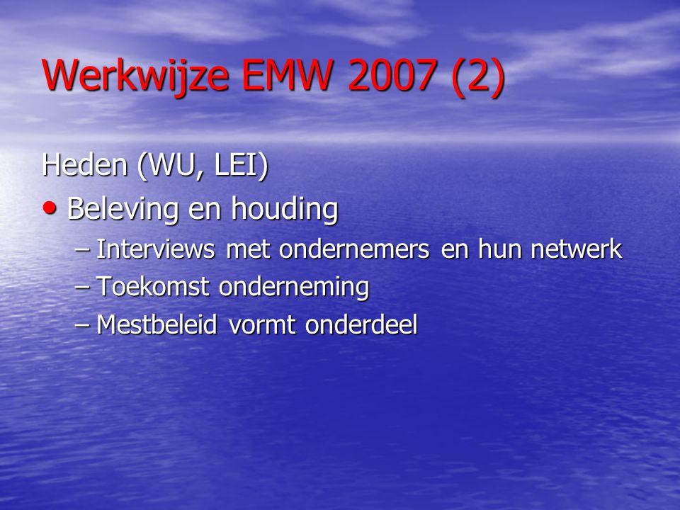 Werkwijze EMW 2007 (2) Heden (WU, LEI) Beleving en houding Beleving en houding –Interviews met ondernemers en hun netwerk –Toekomst onderneming –Mestb