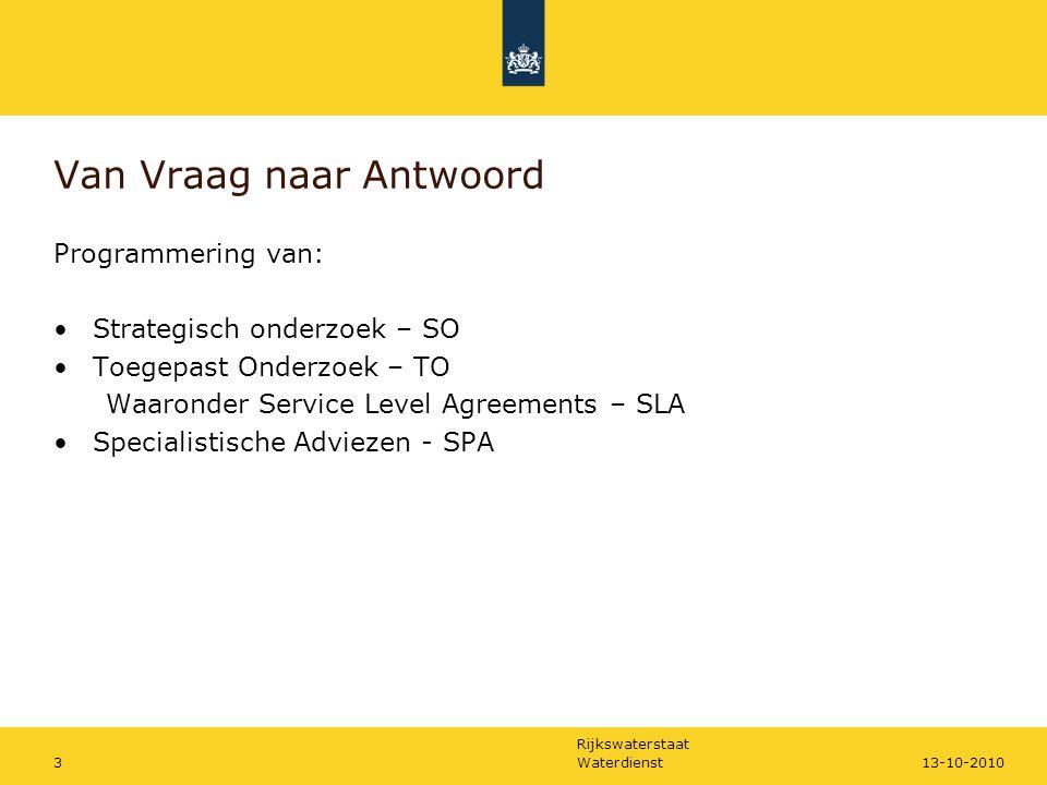 """Rijkswaterstaat Waterdienst213-10-2010 Programma Charlotte Schmidt: """"Van vraag naar antwoord"""" Wim de Lange: """"Waterstroming bij bergingslocaties"""" –Proj"""