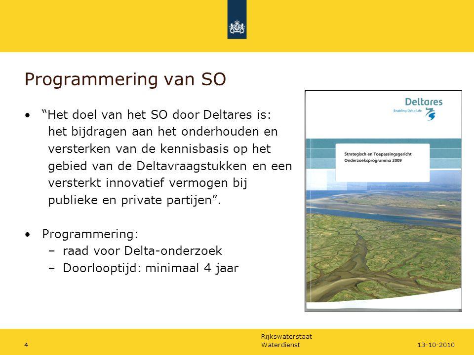 Rijkswaterstaat Waterdienst413-10-2010 Programmering van SO Het doel van het SO door Deltares is: het bijdragen aan het onderhouden en versterken van de kennisbasis op het gebied van de Deltavraagstukken en een versterkt innovatief vermogen bij publieke en private partijen .