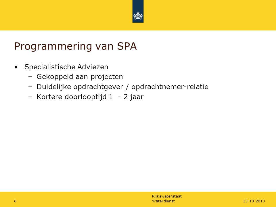 Rijkswaterstaat Waterdienst613-10-2010 Programmering van SPA Specialistische Adviezen –Gekoppeld aan projecten –Duidelijke opdrachtgever / opdrachtnemer-relatie –Kortere doorlooptijd 1 - 2 jaar
