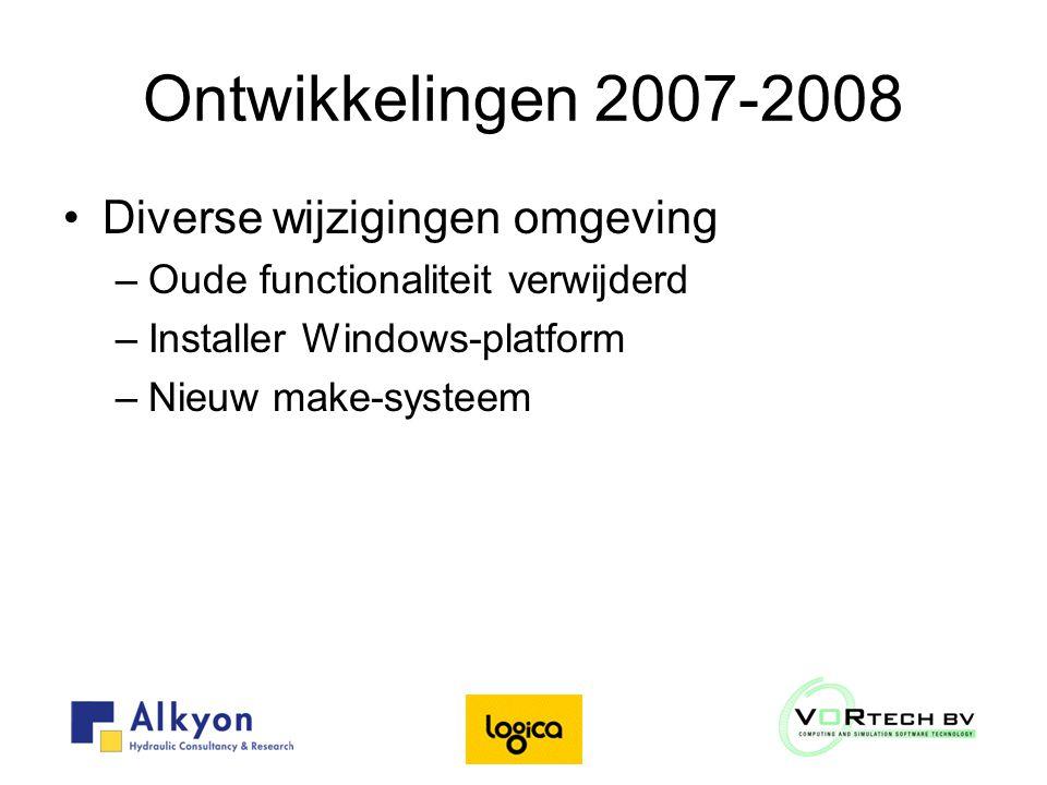 Ontwikkelingen 2007-2008 Diverse wijzigingen omgeving –Oude functionaliteit verwijderd –Installer Windows-platform –Nieuw make-systeem