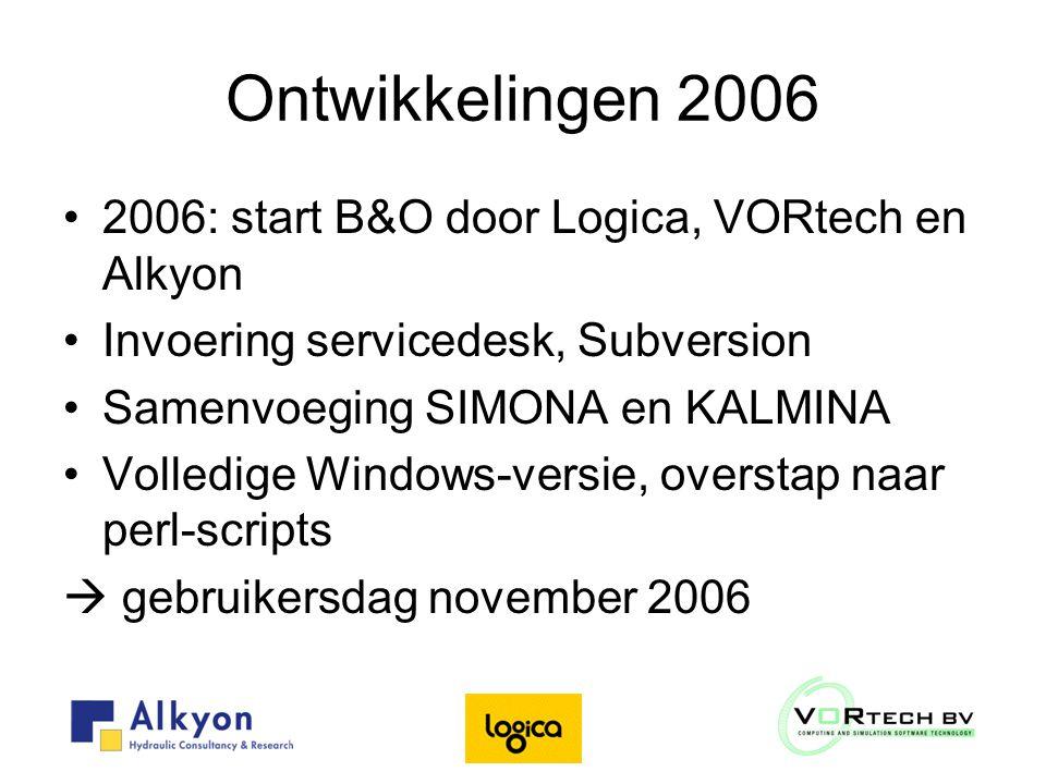 Ontwikkelingen 2006 2006: start B&O door Logica, VORtech en Alkyon Invoering servicedesk, Subversion Samenvoeging SIMONA en KALMINA Volledige Windows-versie, overstap naar perl-scripts  gebruikersdag november 2006