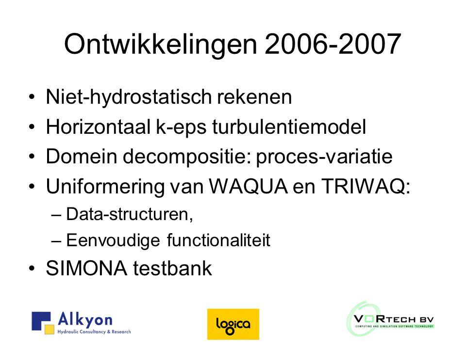 Ontwikkelingen 2006-2007 Niet-hydrostatisch rekenen Horizontaal k-eps turbulentiemodel Domein decompositie: proces-variatie Uniformering van WAQUA en TRIWAQ: –Data-structuren, –Eenvoudige functionaliteit SIMONA testbank