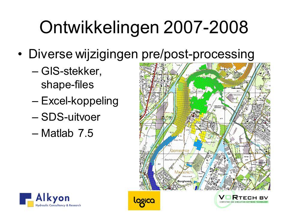 Ontwikkelingen 2007-2008 Diverse wijzigingen pre/post-processing –GIS-stekker, shape-files –Excel-koppeling –SDS-uitvoer –Matlab 7.5