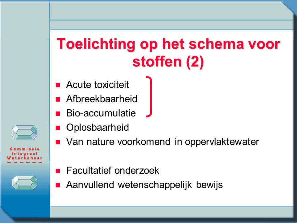 Toelichting op het schema voor stoffen (2) n n Acute toxiciteit n n Afbreekbaarheid n n Bio-accumulatie n n Oplosbaarheid n n Van nature voorkomend in oppervlaktewater n n Facultatief onderzoek n n Aanvullend wetenschappelijk bewijs