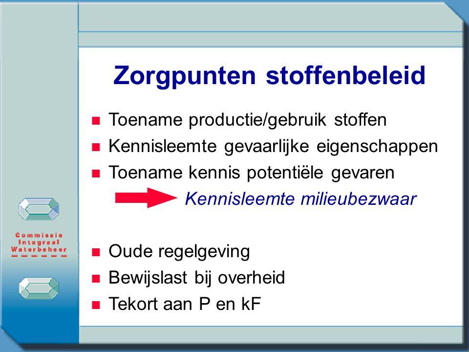 Ontwikkeling nieuw stoffenbeleid NGO's (Greenpeace, FOE, EEB) Industrie (ICCA, CEFIC) Overheden (DK, UK, S, NL, EC)