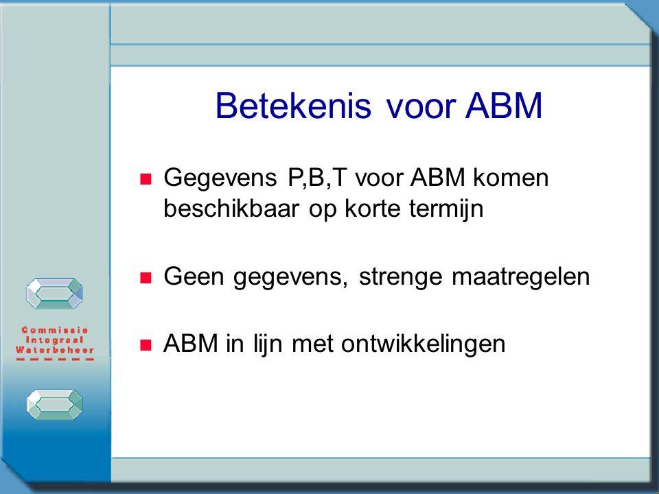Betekenis voor ABM Gegevens P,B,T voor ABM komen beschikbaar op korte termijn Geen gegevens, strenge maatregelen ABM in lijn met ontwikkelingen