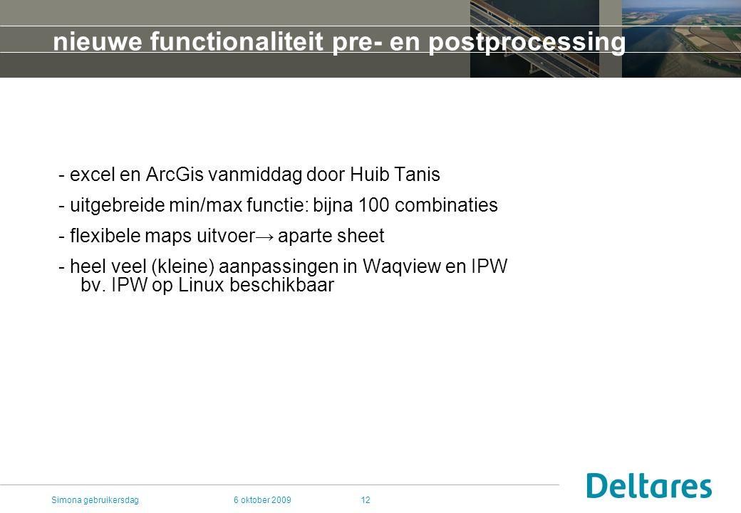 6 oktober 2009Simona gebruikersdag12 nieuwe functionaliteit pre- en postprocessing - excel en ArcGis vanmiddag door Huib Tanis - uitgebreide min/max functie: bijna 100 combinaties - flexibele maps uitvoer→ aparte sheet - heel veel (kleine) aanpassingen in Waqview en IPW bv.