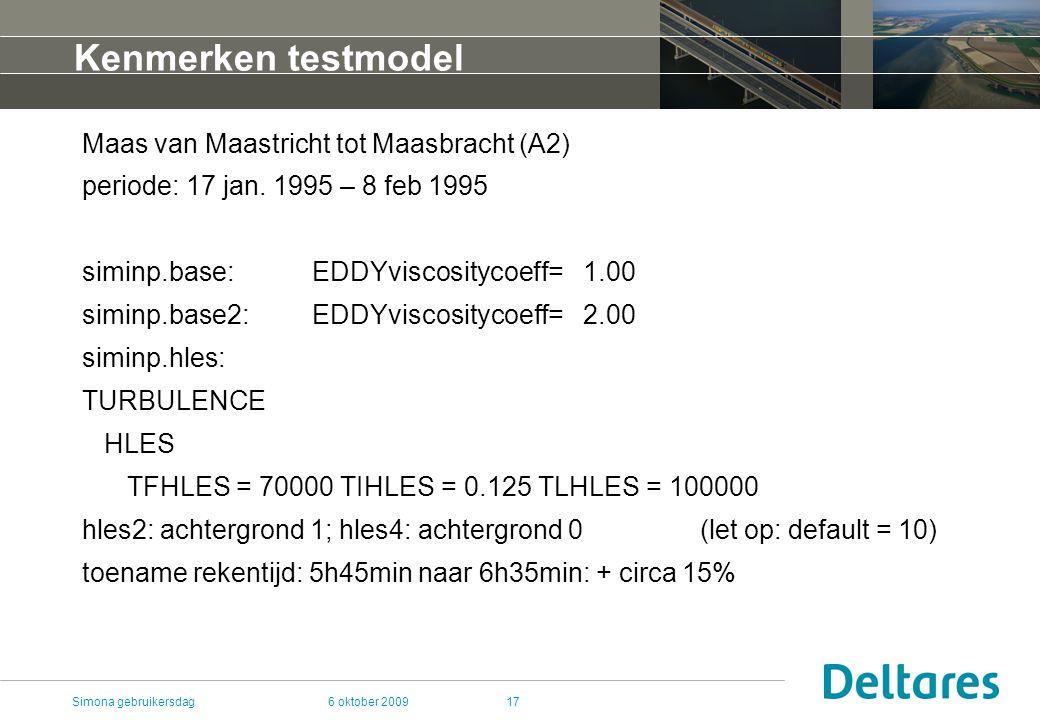 6 oktober 2009Simona gebruikersdag17 Kenmerken testmodel Maas van Maastricht tot Maasbracht (A2) periode: 17 jan.