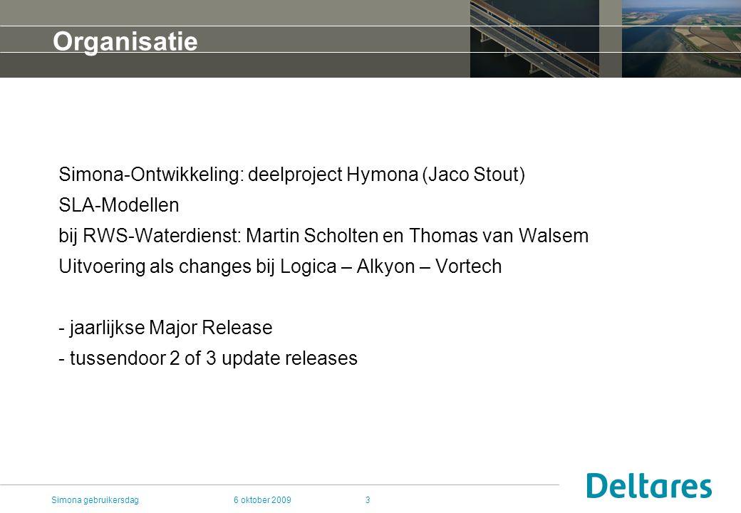 6 oktober 2009Simona gebruikersdag3 Organisatie Simona-Ontwikkeling: deelproject Hymona (Jaco Stout) SLA-Modellen bij RWS-Waterdienst: Martin Scholten en Thomas van Walsem Uitvoering als changes bij Logica – Alkyon – Vortech - jaarlijkse Major Release - tussendoor 2 of 3 update releases
