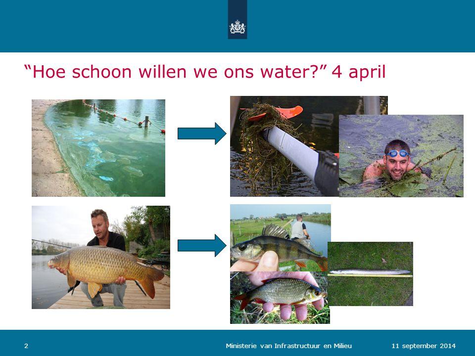 """""""Hoe schoon willen we ons water?"""" 4 april 211 september 2014 Ministerie van Infrastructuur en Milieu"""
