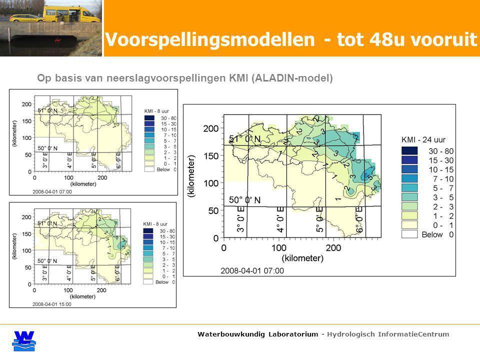 Waterbouwkundig Laboratorium - Hydrologisch InformatieCentrum Op basis van neerslagvoorspellingen KMI (ALADIN-model) Voorspellingsmodellen - tot 48u vooruit