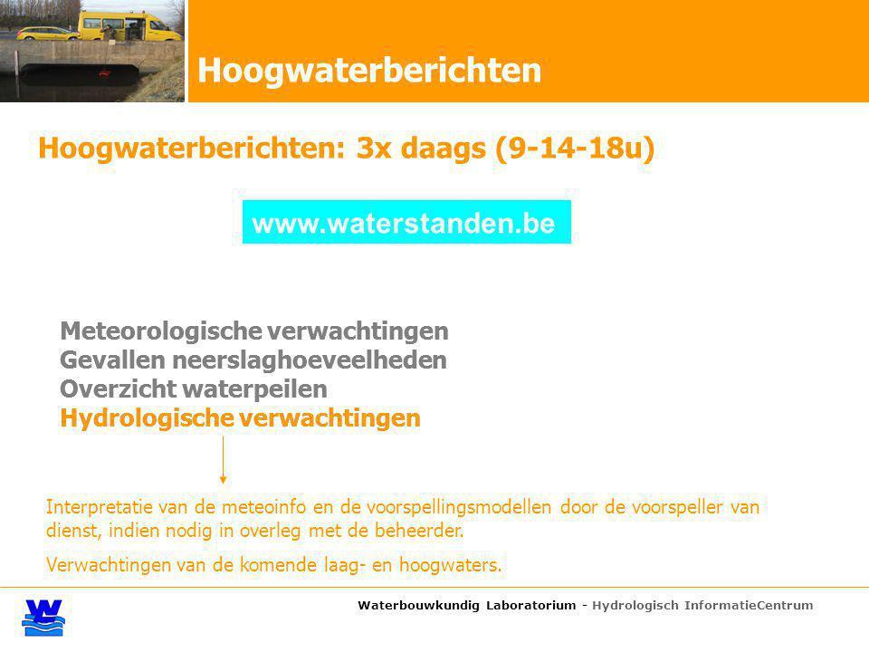 Waterbouwkundig Laboratorium - Hydrologisch InformatieCentrum Hoogwaterberichten: 3x daags (9-14-18u) Meteorologische verwachtingen Gevallen neerslagh