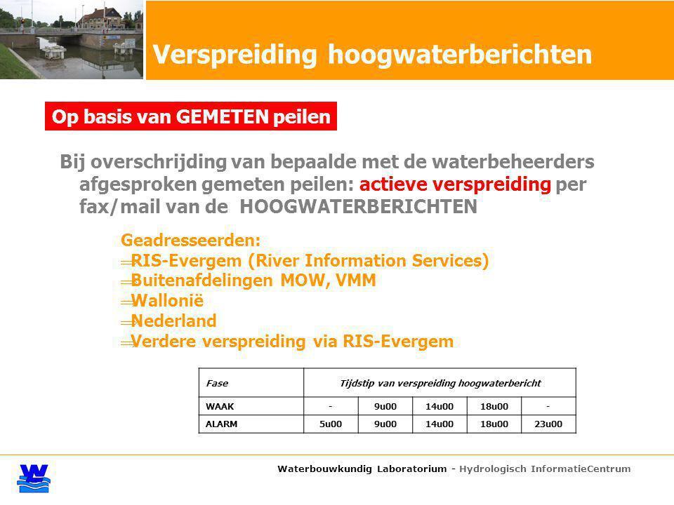 Bij overschrijding van bepaalde met de waterbeheerders afgesproken gemeten peilen: actieve verspreiding per fax/mail van de HOOGWATERBERICHTEN Verspreiding hoogwaterberichten Waterbouwkundig Laboratorium - Hydrologisch InformatieCentrum Geadresseerden:  RIS-Evergem (River Information Services)  Buitenafdelingen MOW, VMM  Wallonië  Nederland  Verdere verspreiding via RIS-Evergem FaseTijdstip van verspreiding hoogwaterbericht WAAK-9u0014u0018u00- ALARM5u009u0014u0018u0023u00 Op basis van GEMETEN peilen