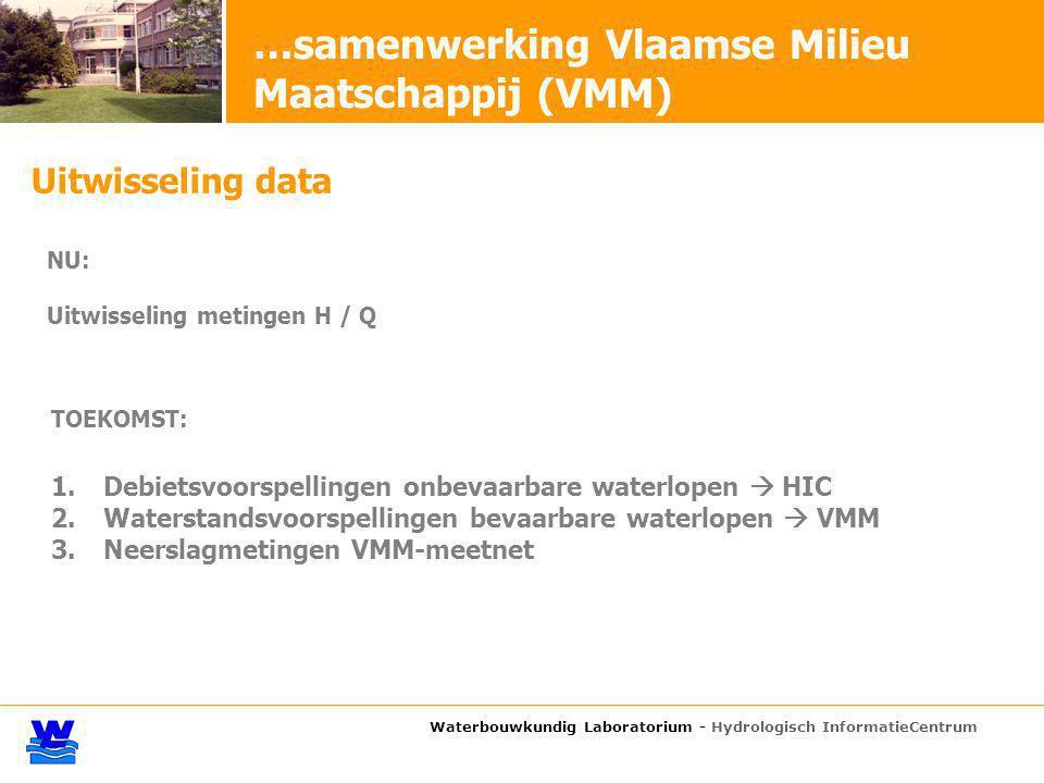 Waterbouwkundig Laboratorium - Hydrologisch InformatieCentrum …samenwerking Vlaamse Milieu Maatschappij (VMM) Uitwisseling data NU: Uitwisseling metin