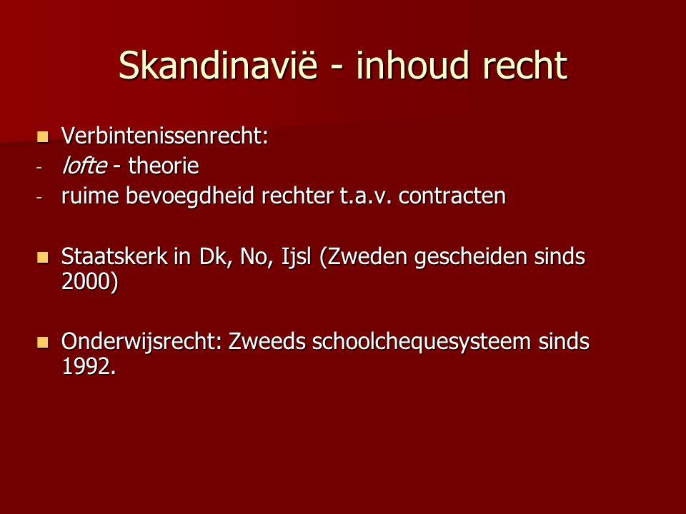 Skandinavië - inhoud recht Verbintenissenrecht: Verbintenissenrecht: - lofte - theorie - ruime bevoegdheid rechter t.a.v.