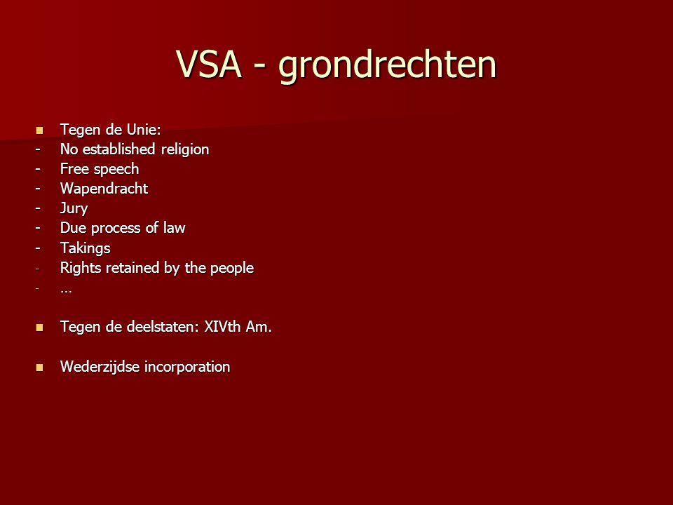 VSA - grondrechten Tegen de Unie: Tegen de Unie: -No established religion -Free speech -Wapendracht -Jury -Due process of law -Takings - Rights retain