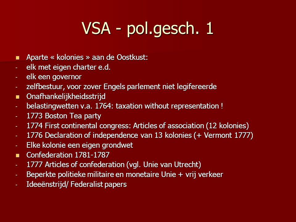 VSA - pol.gesch. 1 Aparte « kolonies » aan de Oostkust: Aparte « kolonies » aan de Oostkust: - elk met eigen charter e.d. - elk een governor - zelfbes