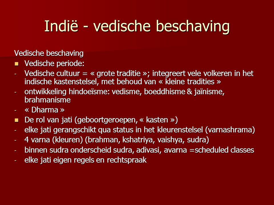 Indië - vedische beschaving Vedische beschaving Vedische periode: Vedische periode: - Vedische cultuur = « grote traditie »; integreert vele volkeren