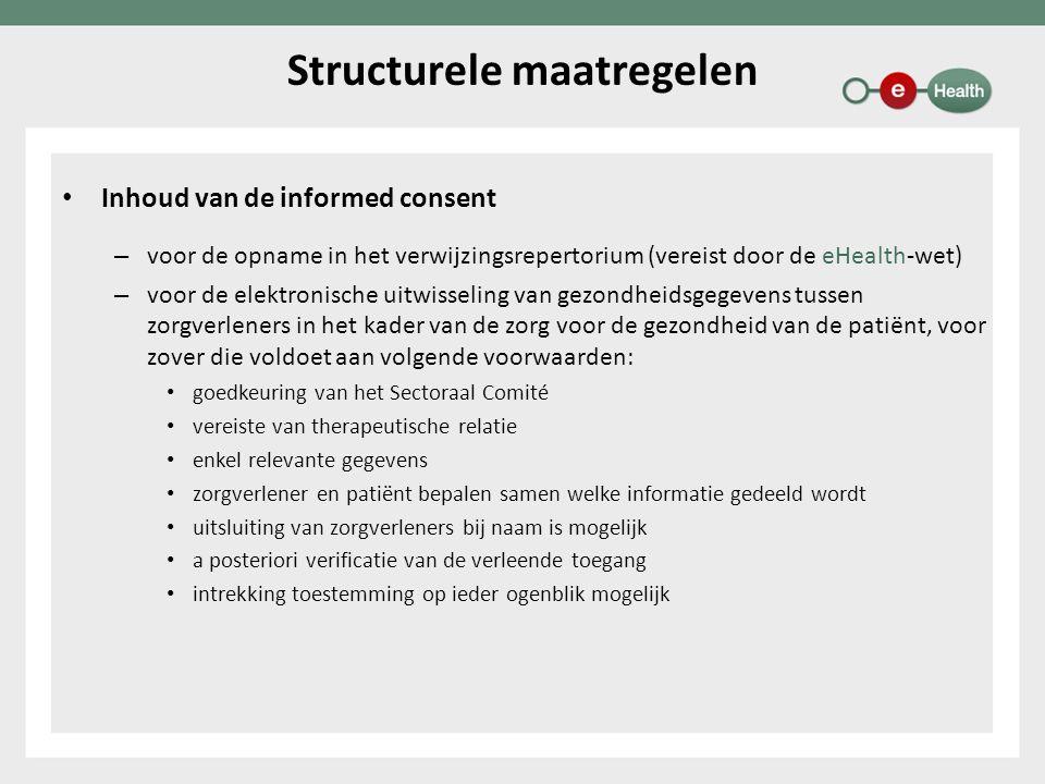 Inhoud van de informed consent – voor de opname in het verwijzingsrepertorium (vereist door de eHealth-wet) – voor de elektronische uitwisseling van g