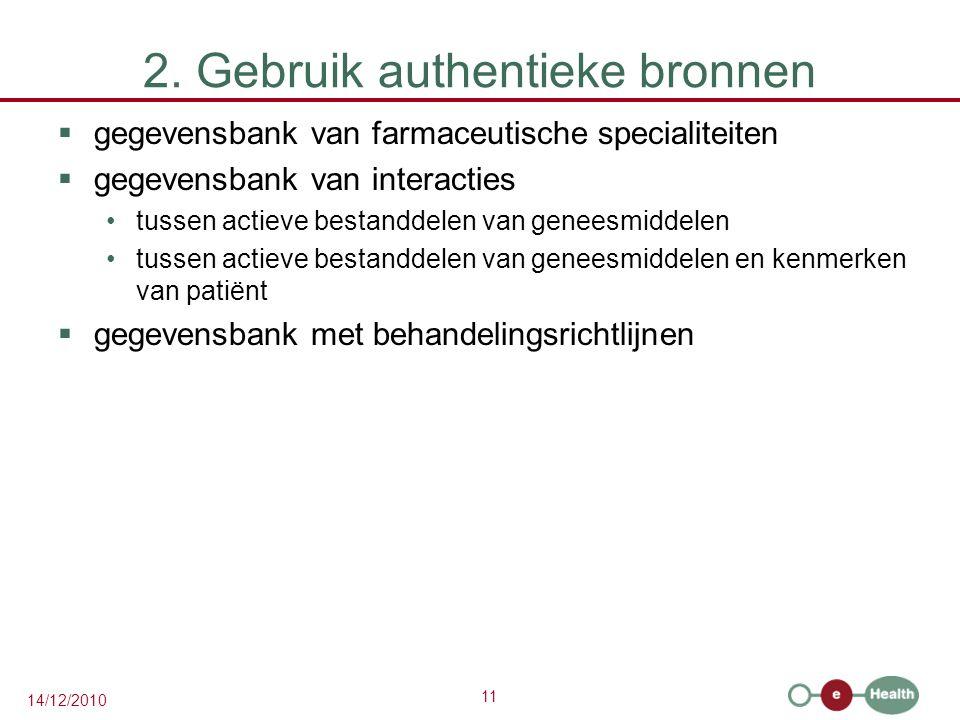 11 14/12/2010 2. Gebruik authentieke bronnen  gegevensbank van farmaceutische specialiteiten  gegevensbank van interacties tussen actieve bestanddel