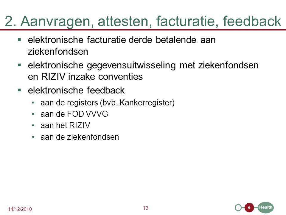 13 14/12/2010 2. Aanvragen, attesten, facturatie, feedback  elektronische facturatie derde betalende aan ziekenfondsen  elektronische gegevensuitwis