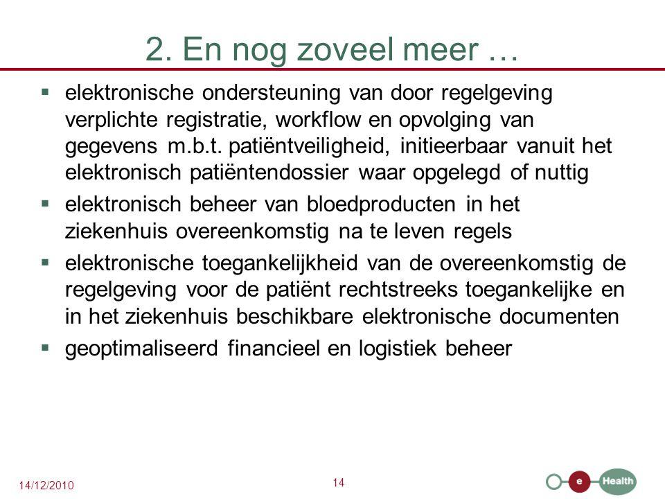 14 14/12/2010 2. En nog zoveel meer …  elektronische ondersteuning van door regelgeving verplichte registratie, workflow en opvolging van gegevens m.