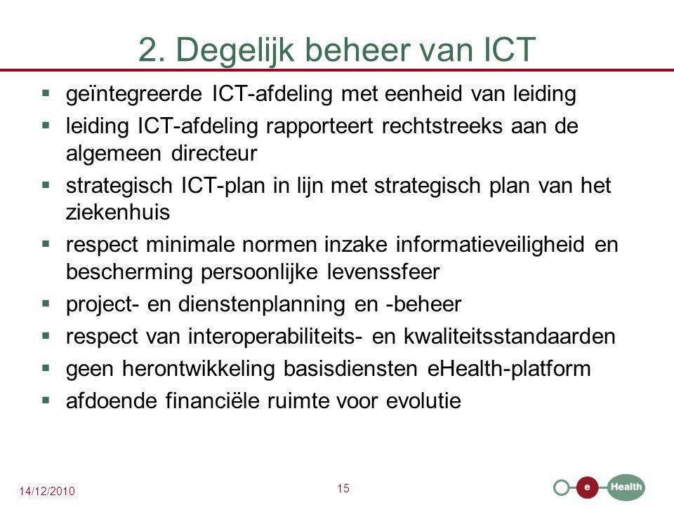 15 14/12/2010 2. Degelijk beheer van ICT  geïntegreerde ICT-afdeling met eenheid van leiding  leiding ICT-afdeling rapporteert rechtstreeks aan de a