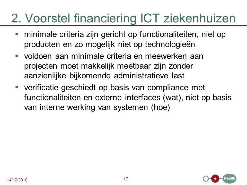 17 14/12/2010 2. Voorstel financiering ICT ziekenhuizen  minimale criteria zijn gericht op functionaliteiten, niet op producten en zo mogelijk niet o